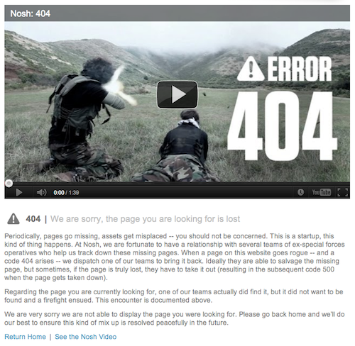 Nosh's 404 page features a video in which a team of ex-special forces hunts down the missing page.