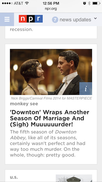 This is how the story appears on NPR's home page on mobile.