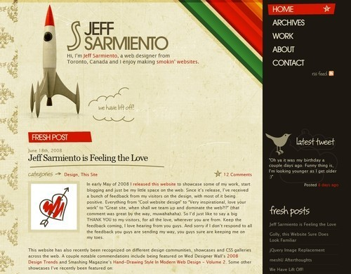 Retro and Vintage Designs - Portfolio and blog of Jeffrey Sarmiento a web designer/developer from Toronto, Canada currfigure working for FreshBooks