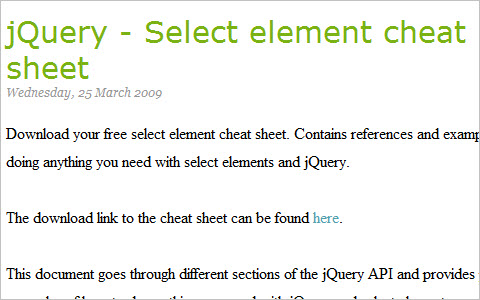 jQuery - Select element cheat sheet