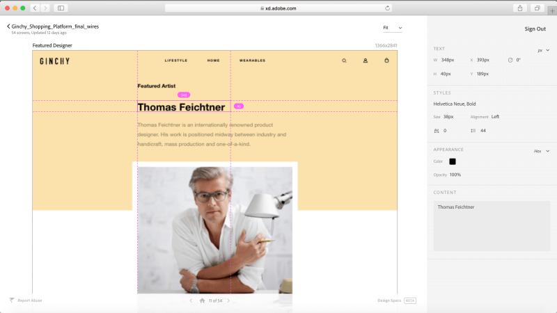 Adobe XD design specs feature