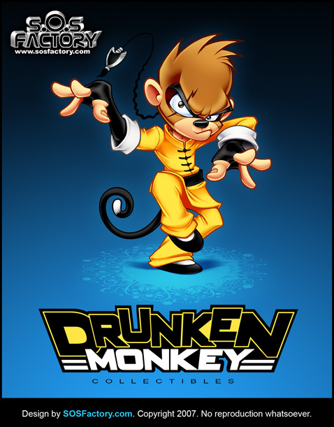 Drunken Monkey mascot and lgoo design
