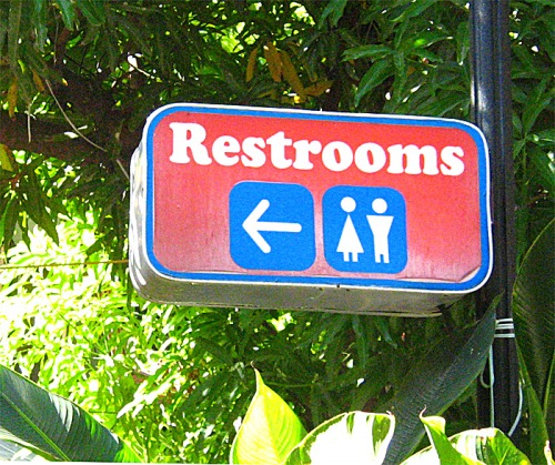 Wayfinding and Typographic Signs - man-really-wants-to-pee,-this-way!