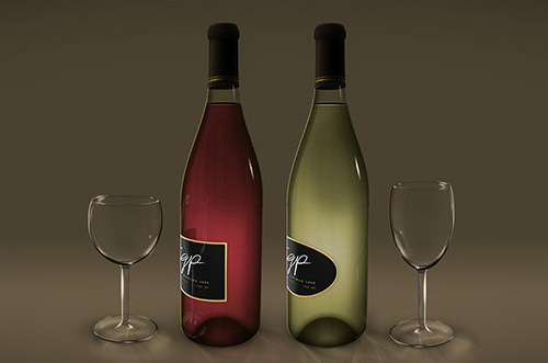 Wine bottles and wine glasses created with the aid of duplicate layer styles.