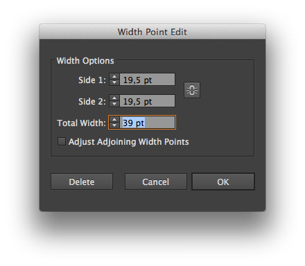 The dialog to edit a width's point.