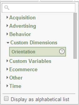 Custom dimensions included in fields list