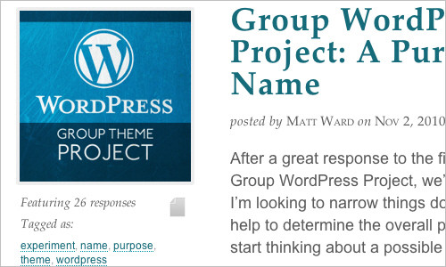Group WordPress Project: A Purpose & A Name