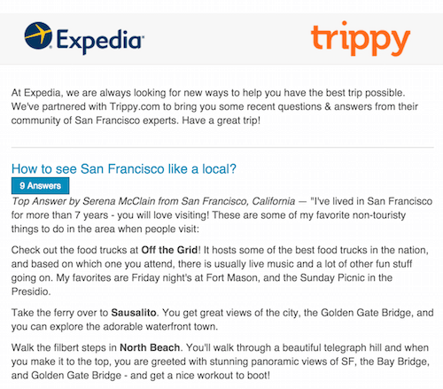 An Expedia email combined with advice from Trippy