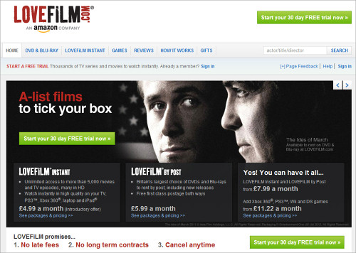 LOVEFiLM Home Page