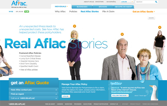Screenshot, Aflac.com (Individuals).