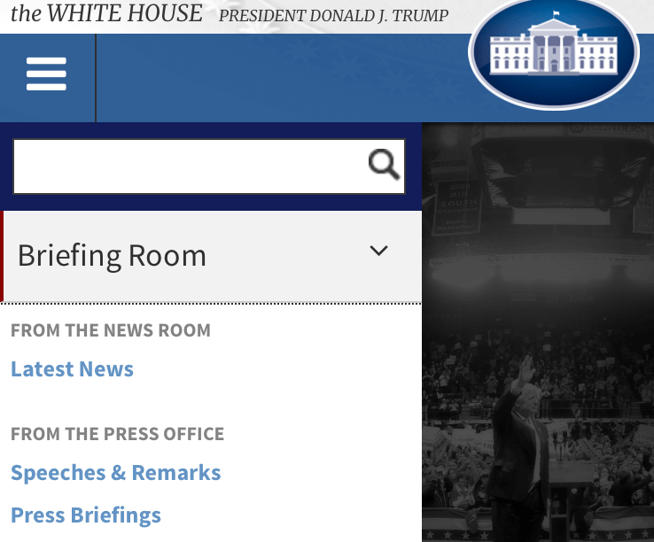 An image of the responsive navigation solution used for WhiteHouse.gov.