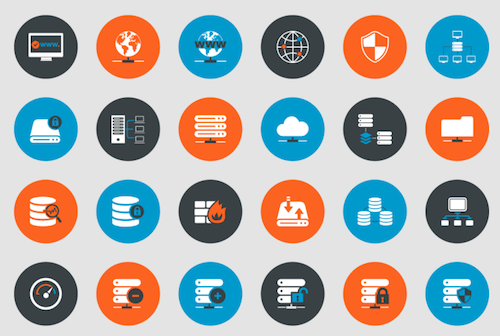 Web Hosting and Technical Support Icons