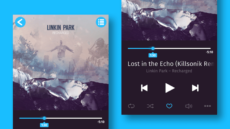 The music player we are going to design. In this first part we will create everything except the icons at the bottom. Cover art by Linkin Park and Warner Bros. Records.