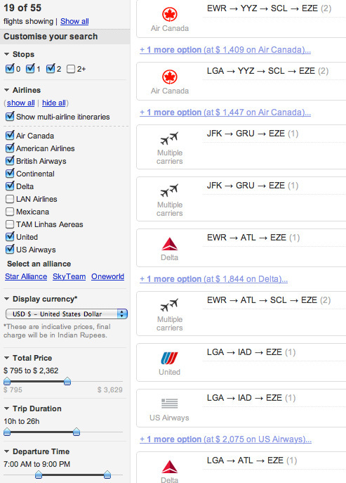 cleartrip.com faceted search