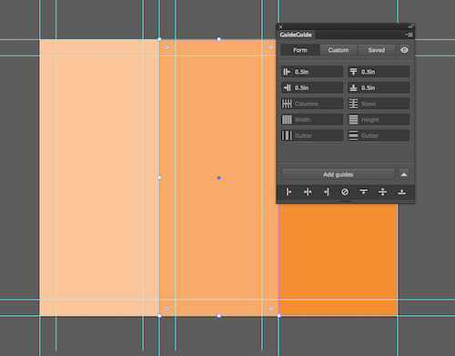 Image of an Illustrator document with the grid from before, plus margins for each column.
