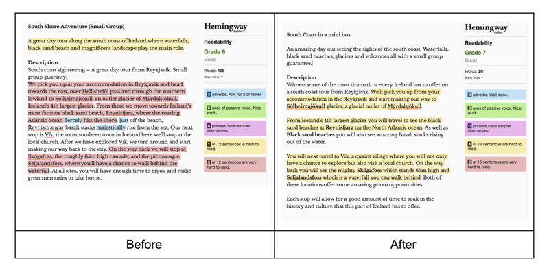 Before and after editing content using the Hemingway app to measure legibility