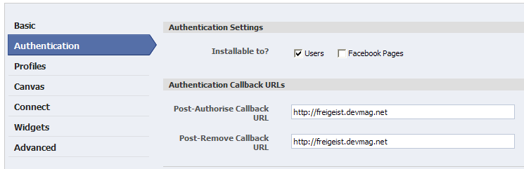 Defining callback URLs for the new application