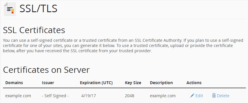 cPanel Certificates with the new SSL certificate listed