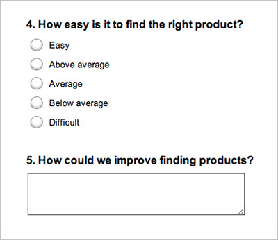 A survey created with Survey Monkey