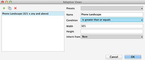 Adaptive views dialog